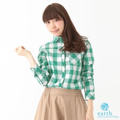 earth music&ecology 棋盤格紋長袖襯衫
