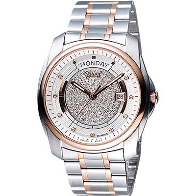 Ogival 愛其華 紳士經典真鑽 Day-Date 機械腕錶-銀x雙色/40mm