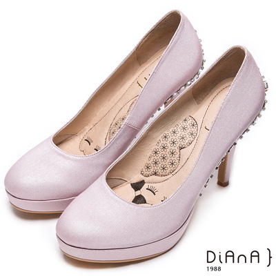 DIANA 漫步雲端LADY款--閃閃動人星空感奢華亮鑽跟鞋-粉