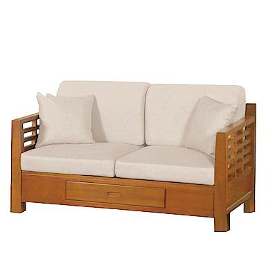 品家居 溫莎亞麻布實木收納沙發雙人座-139x78x75cm免組