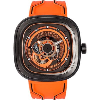 SEVENFRIDAY P3-07 KUKA 第三代稀有版機械錶-橘/47mm
