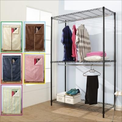 BuyJM鐵力士黑烤漆強固型三層雙桿衣櫥附布套(90x45x180CM)-DIY