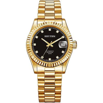 RHYTHM日本麗聲 尊爵晶鑽機械日期手錶-黑x金/40mm