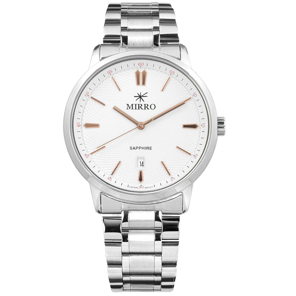 MIRRO 米羅 藍寶石水晶玻璃 日期視窗 不鏽鋼手錶- 白色/42mm