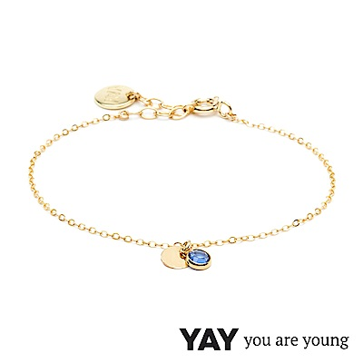 YAY You Are Young 法國品牌 Sultane 灰藍水晶手鍊 金色