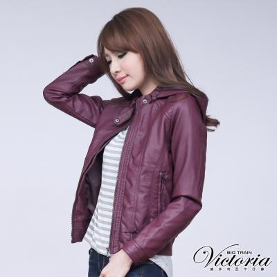 Victoria-菱格壓線PU外套-女-紫色