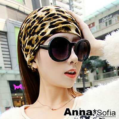 AnnaSofia-狂野魅豹-柔棉寬髮帶-深駝