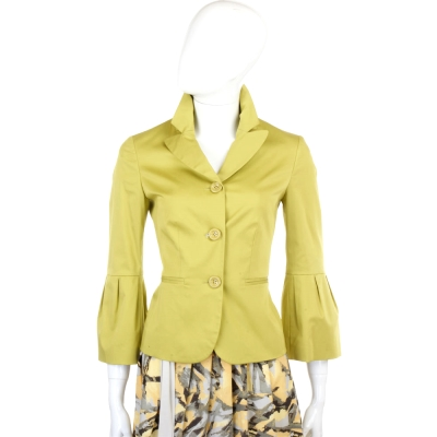 MOSCHINO 芥茉綠燈籠袖設計西裝外套