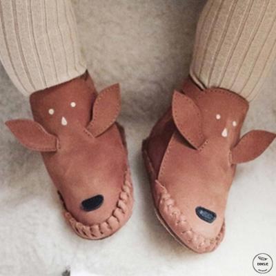 Donsje 荷蘭 棕色小鹿款動物造型內刷毛蝴蝶結真皮寶寶靴子