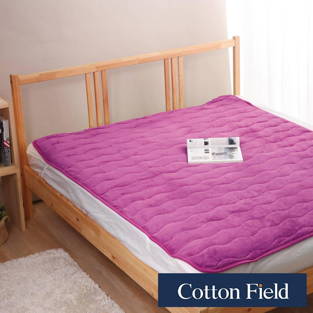 棉花田 暖暖 超細纖維雙人加大保暖墊-紫紅色