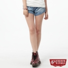 5th STREET 短褲 取線雙摺牛仔短褲-女-漂淺藍