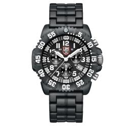 LUMINOX 雷明時海豹部隊超輕量鍊帶三眼計時腕錶-黑x白時標/44mm
