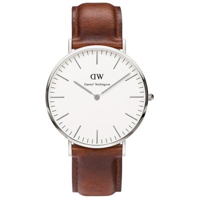 Daniel Wellington Andrews經典時尚男錶-銀框x咖啡色錶帶/40mm
