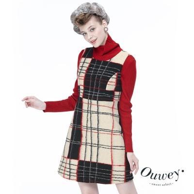 OUWEY歐薇 不規則格紋毛呢背心洋裝(可)