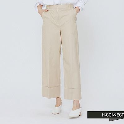 H:CONNECT 韓國品牌 女裝 - 打摺純色挺版寬褲-卡其