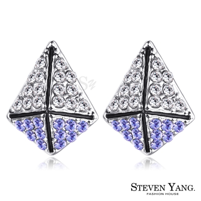 STEVEN YANG 白K耳針式耳環 甜蜜防禦 (紫水晶)