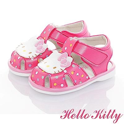 HelloKitty 輕量減壓吸震嗶嗶學步涼鞋童鞋-桃