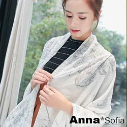 AnnaSofia 繪線木槿 拷克邊韓國棉圍巾披肩(白底淺灰花系)