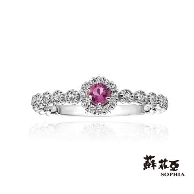 蘇菲亞SOPHIA 日本輕珠寶系列-粉紅愛戀碧璽0.15克拉鑽戒