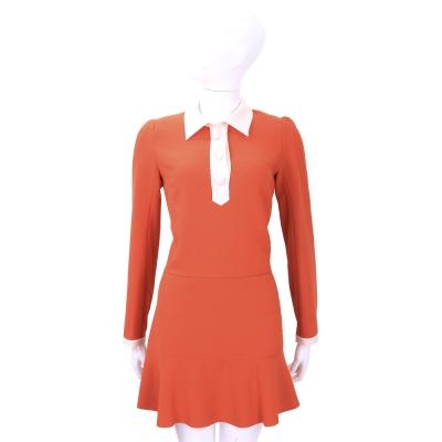 SEE BY CHLOE 橘紅x白色拼接設計長袖洋裝