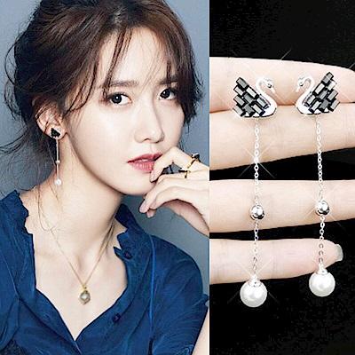 梨花HaNA 韓國925銀水晶黑天鵝珍珠長耳環