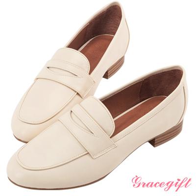 Grace gift-經典素面皮革樂福鞋 杏