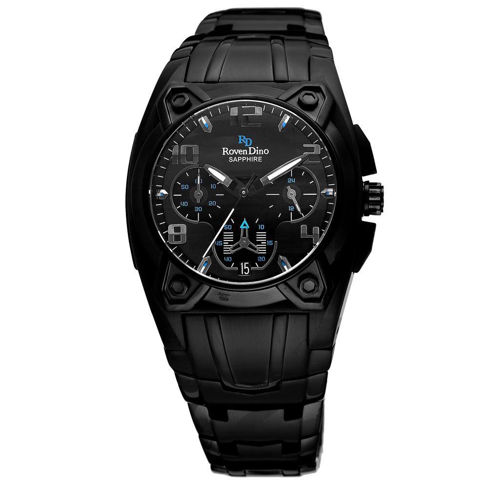 Roven Dino羅梵迪諾 闇黑潮流都會三眼腕錶-黑x藍/37mm