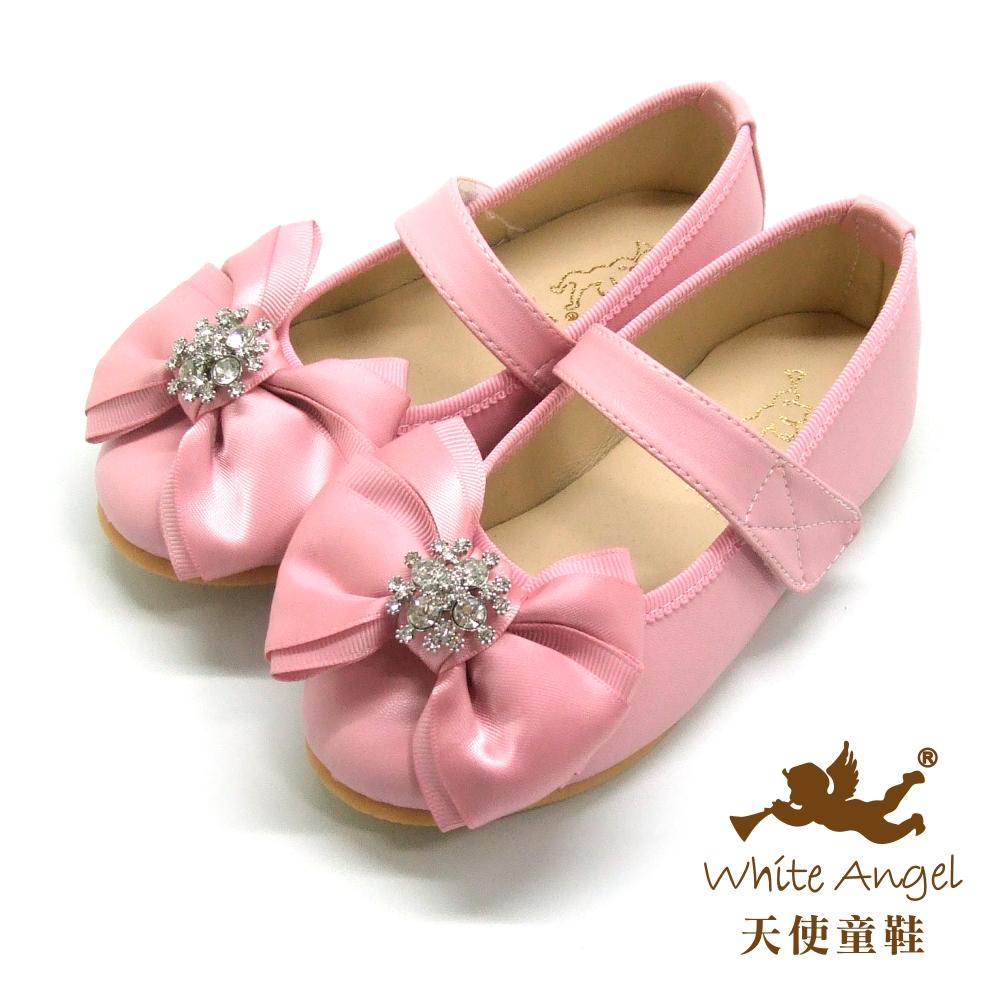天使童鞋 JU773 典雅花鑽大蝴蝶結公主鞋 優雅粉