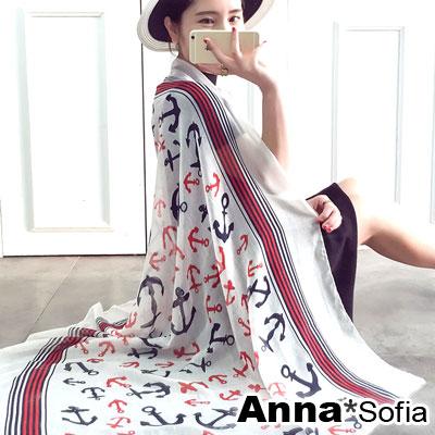 AnnaSofia-防曬遮陽-海軍風船錨-圍巾披肩