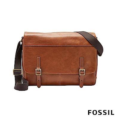FOSSIL DEFENDER 真皮商務側背包-焦糖色