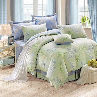 鴻宇HongYew 300織精梳棉 葛菈芙 綠  雙人七件式兩用被床罩組
