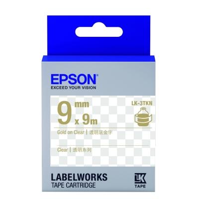EPSON C53S653409 LK-3TKN透明系列透明底金字標籤帶(寬度9mm)