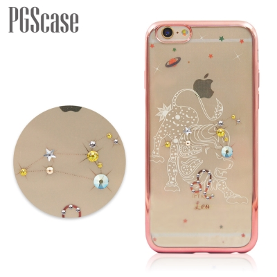 PGS APPLE iPhone6s / 6 星座奧地利彩鑽玫瑰金手機殼-獅子座