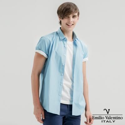 Emilio Valentino范倫提諾英倫簡約短袖襯衫-水藍