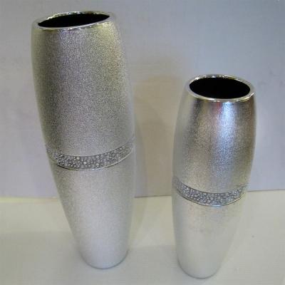*創意時尚歐風*閃亮銀陶瓷花器桌飾一對