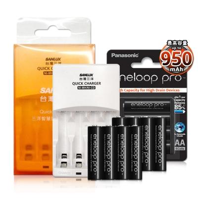 三洋智慧型充電器+國際牌黑鑽款eneloop PRO 低自放4號充電電池8顆