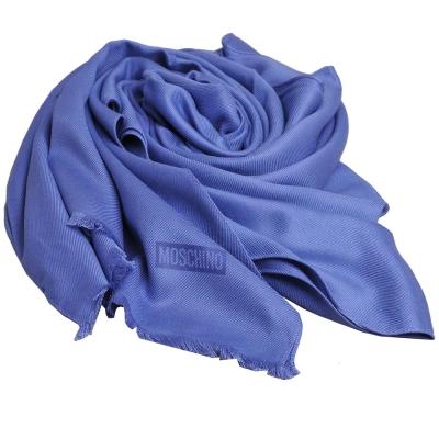 MOSCHINO 品牌字母圖騰LOGO高質感素雅義大利製披肩圍巾(寶藍色)