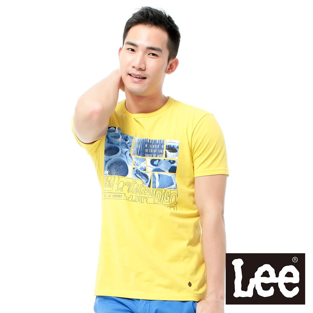 Lee 短袖T恤 藍色相印圖案 -男款(黃)
