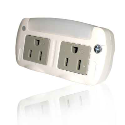 KINYO 黃光LED光控感應小夜燈+分接式插座(MRL-05)