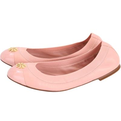TORY BURCH Jolie 皮革拼接平底娃娃鞋(粉色)