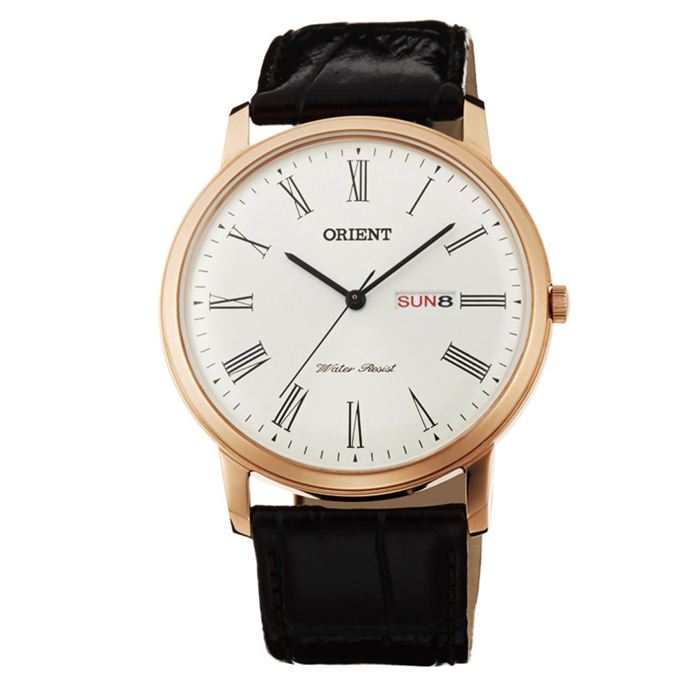 ORIENT 經典東方羅馬數字時標石英腕錶(FUG1R006W6)-白/40mm