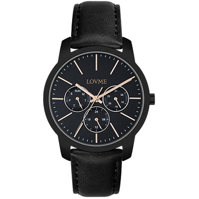LOVME 簡約時尚中性手錶-IP黑/37mm