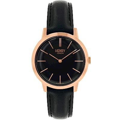 Henry London 英倫時尚真皮手錶-黑X金框/34mm