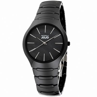 NATURALLY JOJO 極簡美學時尚陶瓷腕錶-珍珠母貝 黑x銀/38mm