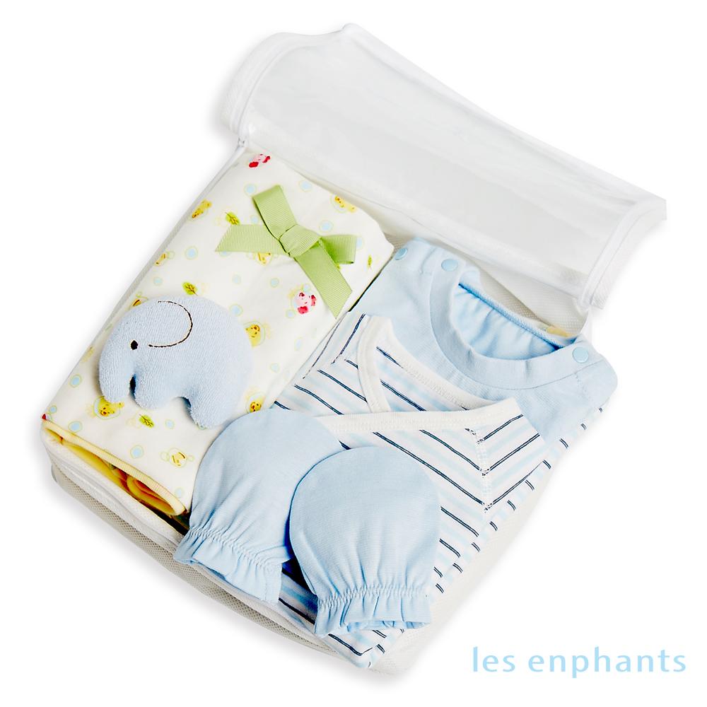 麗嬰房les enphants新生兒寶寶100棉質禮盒五件組-淺藍