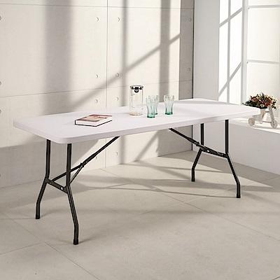 邏爵LOGIS-升級版 多用途183*76塑鋼折合桌/野餐桌/展示桌/工作桌
