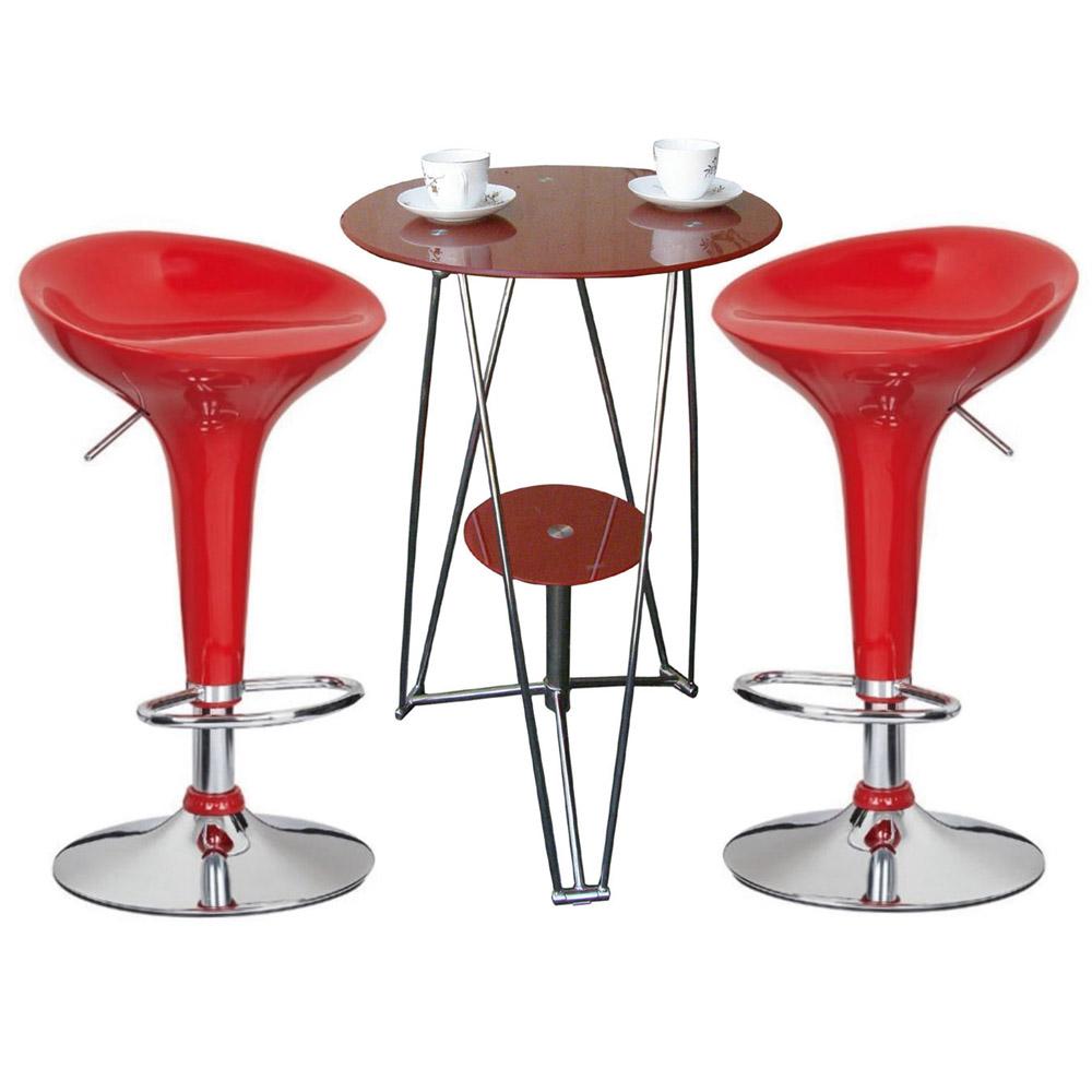 SOHO 雙層吧台桌椅組(1桌2椅)-紅色