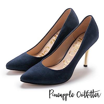Pineapple Outfitter 性感名媛 真皮素面尖頭金屬高跟鞋-絨藍
