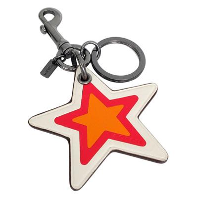 COACH橘紅白拼色全皮星型雙扣環鑰匙圈