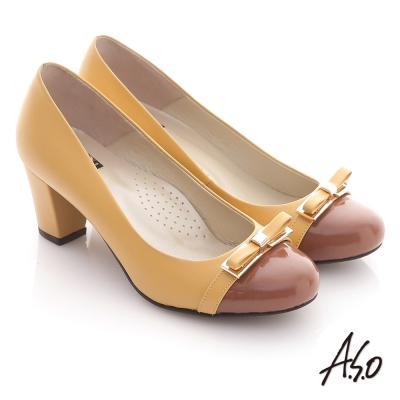 A.S.O 都會系列 全真皮窩心金屬底蝴蝶結飾拼接高跟鞋 黃